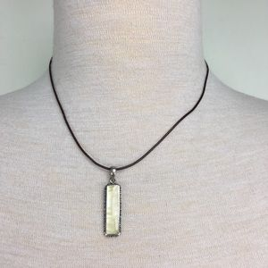 Sterling Mother of Pearl Pendant Brown Cord